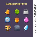 colorful glossy game icon set....   Shutterstock .eps vector #587038736