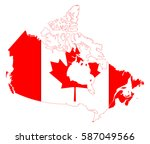 canada flag map | Shutterstock .eps vector #587049566