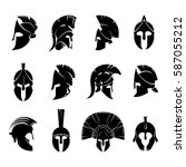 silhouettes spartan helmet... | Shutterstock .eps vector #587055212