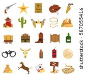 set of wild west theme color... | Shutterstock .eps vector #587055416