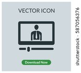 man in monitor vector icon | Shutterstock .eps vector #587056376