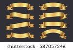 set of golden ribbons on gray... | Shutterstock .eps vector #587057246
