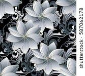 floral seamless pattern. damask ... | Shutterstock .eps vector #587062178