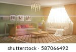 interior with sofa. 3d... | Shutterstock . vector #587066492