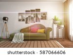interior with sofa. 3d... | Shutterstock . vector #587066606