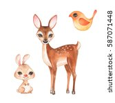 Hand Drawn Cute Fawn  Bunny And ...