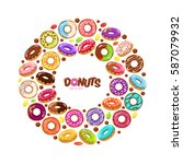 sweet donuts flat icons set.... | Shutterstock .eps vector #587079932