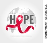 world cancer awareness ribbon... | Shutterstock .eps vector #587080166