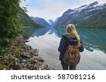 adventure backpacking woman... | Shutterstock . vector #587081216