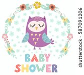 baby shower card with a cute... | Shutterstock .eps vector #587091206