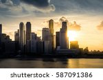 city during warm sunset  ... | Shutterstock . vector #587091386
