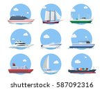 ships and boats in the sea... | Shutterstock .eps vector #587092316