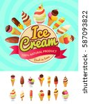 colorful poster with ice cream... | Shutterstock .eps vector #587093822