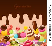 different sweets colorful... | Shutterstock .eps vector #587093942
