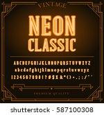bright neon alphabet letters ...   Shutterstock .eps vector #587100308