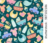 cute baby shower seamless... | Shutterstock .eps vector #587102186