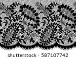 seamless black vector lace... | Shutterstock .eps vector #587107742