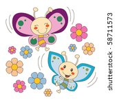 pink and blue baby butterfly... | Shutterstock .eps vector #58711573
