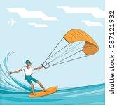 kitesurfing. man in sunglasses... | Shutterstock .eps vector #587121932