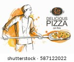 baker in uniform with pizza... | Shutterstock .eps vector #587122022