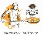 baker in uniform with pizza...   Shutterstock .eps vector #587122022