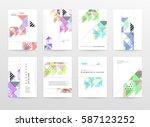 memphis geometric background... | Shutterstock .eps vector #587123252