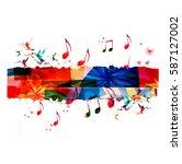 music vector illustration with... | Shutterstock .eps vector #587127002