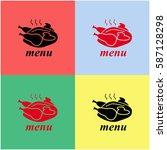 chicken vector  icon.   Shutterstock .eps vector #587128298