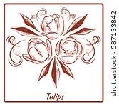 a beautiful bouquet of tulips... | Shutterstock .eps vector #587133842