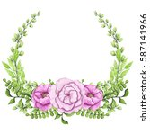 wreath with watercolor bright... | Shutterstock . vector #587141966