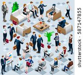 isometric people isolated... | Shutterstock .eps vector #587147855