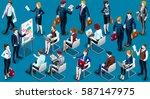 trendy 3d isometric group of... | Shutterstock .eps vector #587147975