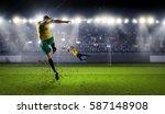 hot moments of soccer match .... | Shutterstock . vector #587148908