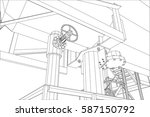 wire frame oil and gas... | Shutterstock .eps vector #587150792