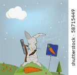 malicious rabbit protecting a... | Shutterstock .eps vector #58715449