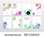 memphis geometric background... | Shutterstock .eps vector #587158502
