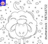 coloring book cartoon sheep ... | Shutterstock .eps vector #587163722