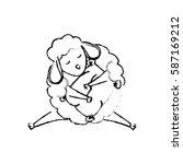 sheep sleeping cartoon icon... | Shutterstock .eps vector #587169212