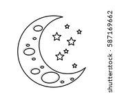 sleeping moon cartoon icon... | Shutterstock .eps vector #587169662