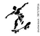 skater man  made in a grunge... | Shutterstock .eps vector #587170916