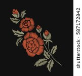 bouquet of roses. embroidery. | Shutterstock .eps vector #587172842