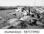 fishing boats in old jaffa port ... | Shutterstock . vector #587173982