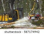 industrial forest harvester... | Shutterstock . vector #587174942