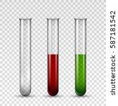transparent medical glass tube... | Shutterstock .eps vector #587181542
