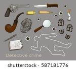 vector detective crime icons set | Shutterstock .eps vector #587181776