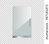 transparent glass door on... | Shutterstock .eps vector #587181872