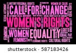 women's rights word cloud on a... | Shutterstock .eps vector #587183426