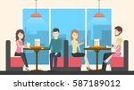 sitting in pizzeria. people eat ... | Shutterstock .eps vector #587189012