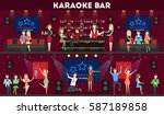 karaoke bar interior set. bar... | Shutterstock .eps vector #587189858