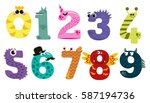 set of cartoon numbers in flat... | Shutterstock .eps vector #587194736